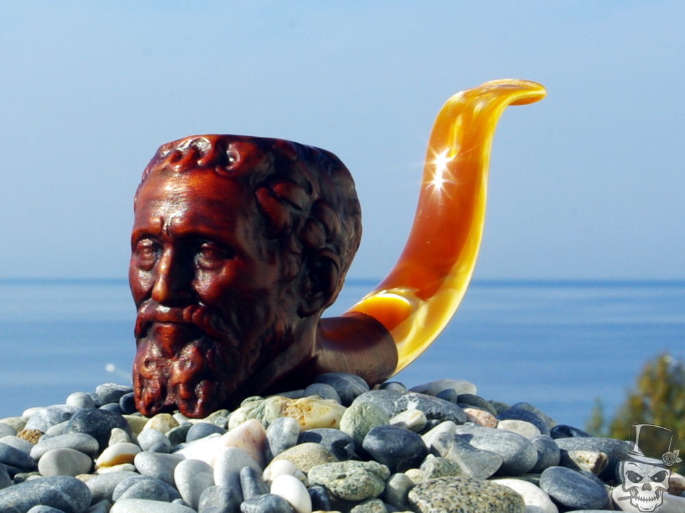 M-208d-olive – Michelangelo Buonarroti – Tobacco Olive Wood Smoking Pipe by Oguz Simsek