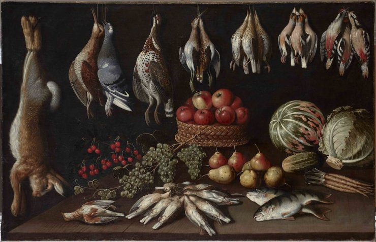 ANA CHICLANA, Albrecht KAUW, Still life with fish and fruits