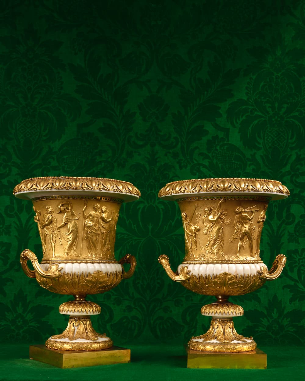 """Pair of """"Borhese"""" vases in white marble and gilt bronze from the collection of Alfred de Rothschild"""