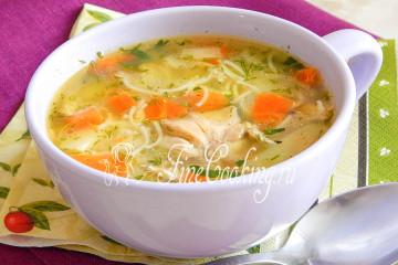 Суп куриный с рисом - рецепт