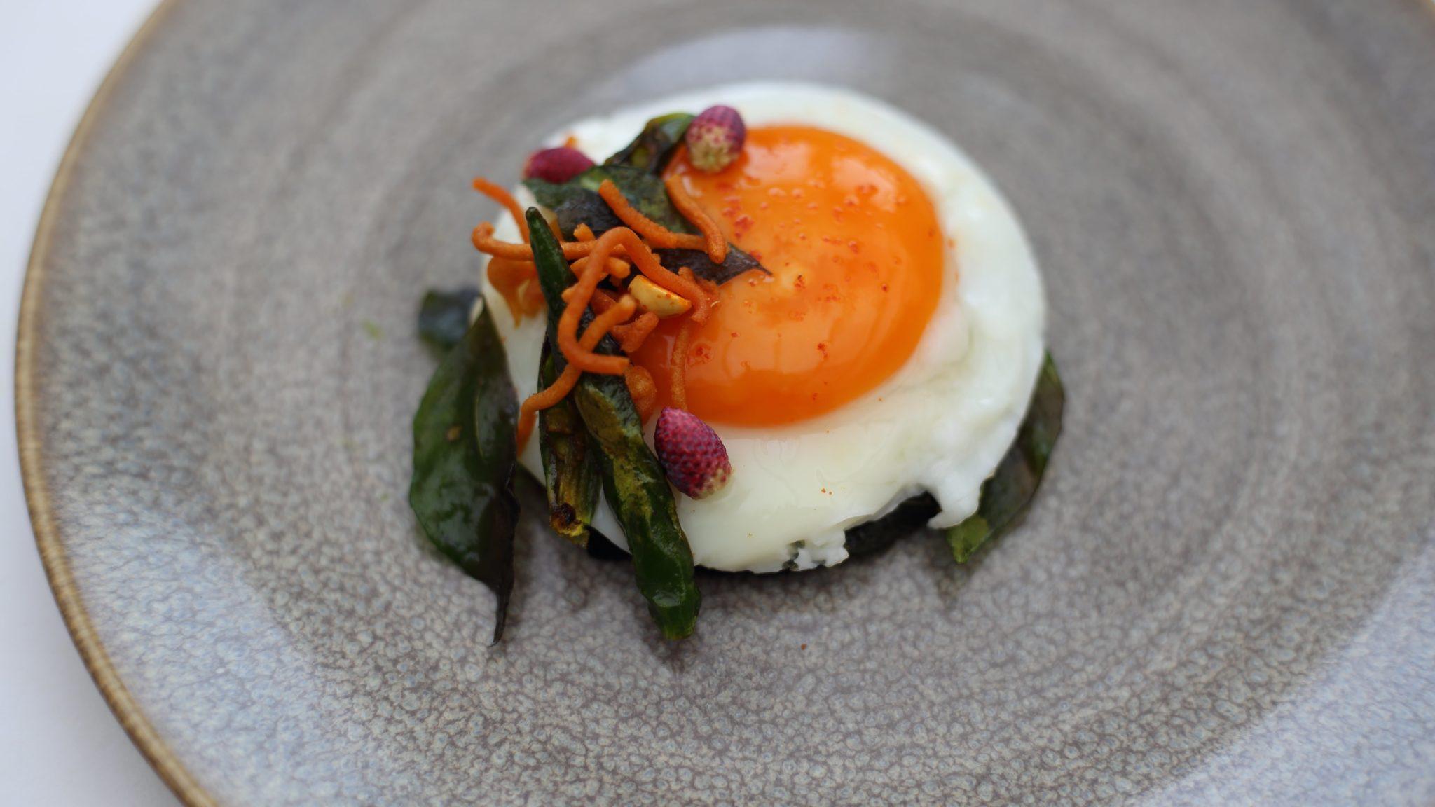 portobello mushroom fried blue eggs kerala spices