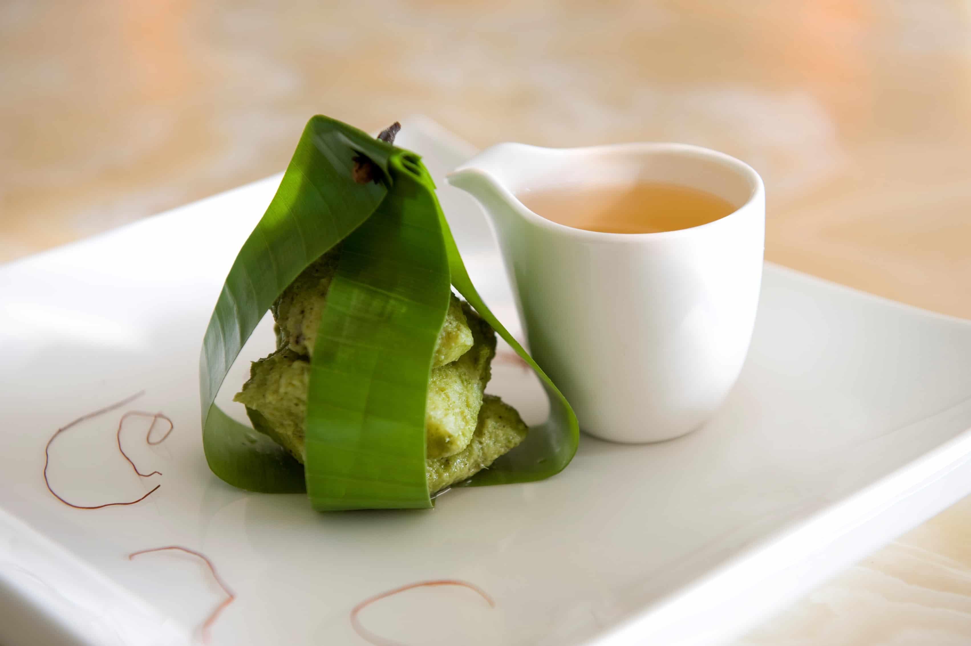 galangal infused patrani mekong basa, tomato shorba essence-min