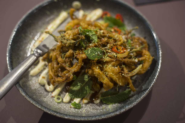 SQUID AND SAMPHIRE PAKORA Temper city restaurant food tasting by Fine dining indian food magazine