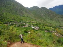 The descent into our first stop for the night. The Naxi Family Guesthouse, nestled in this verdant village.