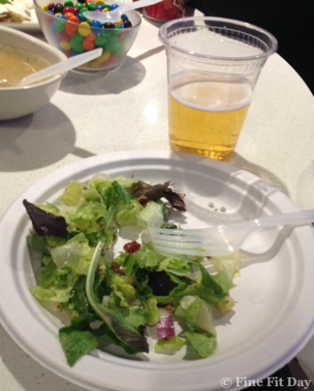 The Quest to Lose 10 Pounds in 6 Weeks, Week Two - salad at a hockey game.