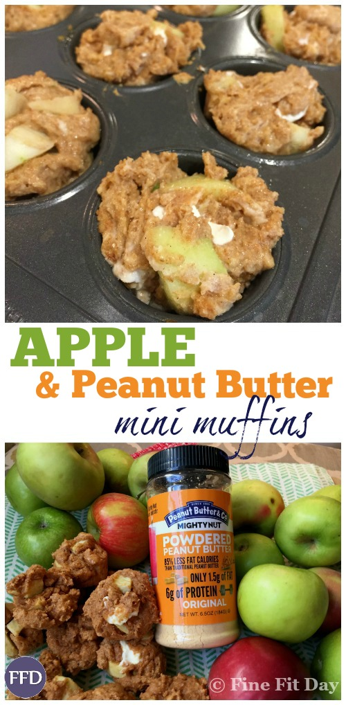 Apple Peanut Butter Muffin Recipe - High in protein, thanks to powdered peanut butter, these homemade apple mini muffins are a great post-workout snack idea, or part of a delicious, healthy breakfast. This easy recipe is a hit with kids, too! (Check out the rest of the post for a chocolate peanut butter smoothie bowl recipe) | baking | healthy cooking |