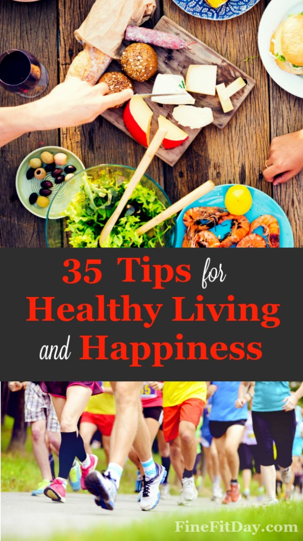 35 Ways to be Happier Today. These tips for healthy living and more happiness in your life are simple! Try adding just one and see how you can create more joy. Great idea for anyone searching for a healthy living goal to work towards!