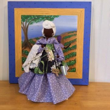 Monique - an original ©Genya Gullah Bottle Doll background Headin Home a GL Quilt Sq