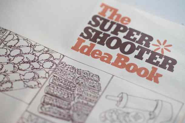 """A recipe book entitled, """"The Super Shooter Idea Book"""" featuring simple drawings of the kitchen tool and the food that can be made with it."""