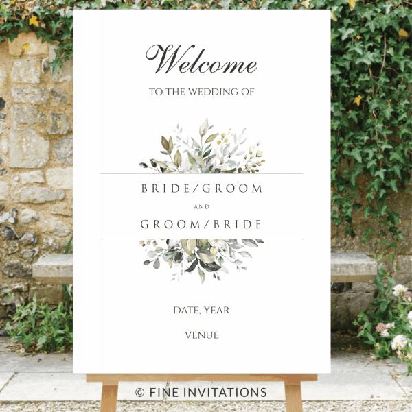 foliage wedding welcome sign australia