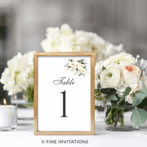 blush floral wedding table numbers Australia
