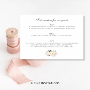 blush floral wedding finer details card Australia