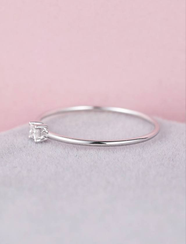 Solid 14k Rose Gold Minimalist Engagement Ring Thin Dainty Simple Engagement Ring Princess Cut Diamond Ring Delicate Promise Anniversary Fine Jewelry Ideas