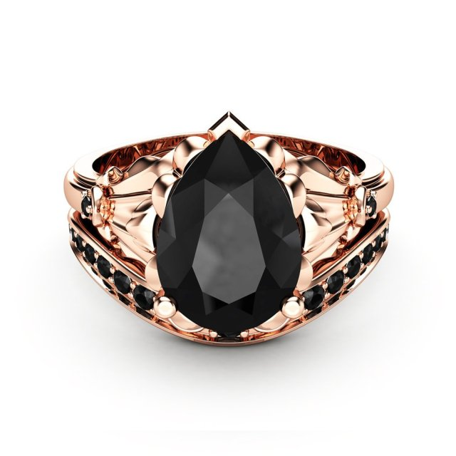 Pear Black Diamond Engagement Ring Set 14k Rose Gold Petal Rings Pear Cut Ring With Matching Diamond Band Fine Jewelry Ideas