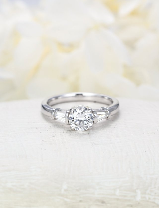 Moissanite Engagement Ring White Gold Unique Engagement Ring Vintage Baguette Three Stone Bridal Wedding Women Anniversary Gift For Her Fine Jewelry Ideas