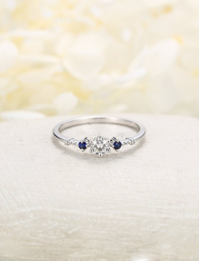 Moissanite Engagement Ring Vintage Sapphire Ring Three Stone Wedding Women Simple Bridal Set White Gold Promise Anniversary Gift For Her Fine Jewelry Ideas