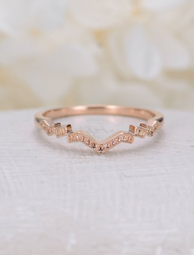Vintage Wedding Band Rose Gold Wedding Ring Women Unique Curved