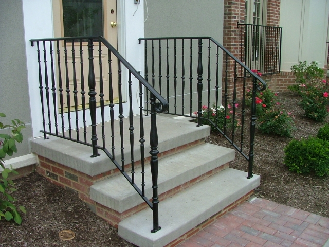 Step Railings Finelli Ironworks | Front Porch Stair Railing | Single Step | Outdoor | Rail | Pressure Treated | White