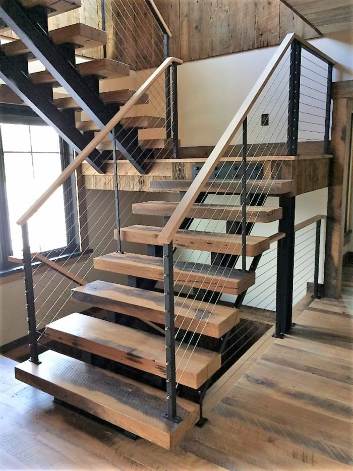 Stairs Finelli Ironworks   Metal And Wood Stairs   Straight   Diy   Residential   Rustic   Stair Railing