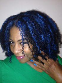 blue curly hair