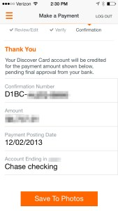 Discover payment confirmation save to photos
