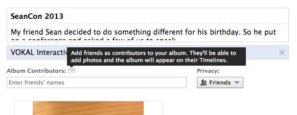 Facebook album contributors
