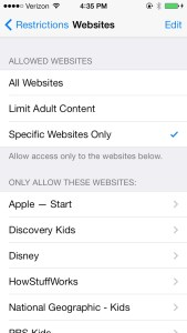 Restrictions websites iOS 7
