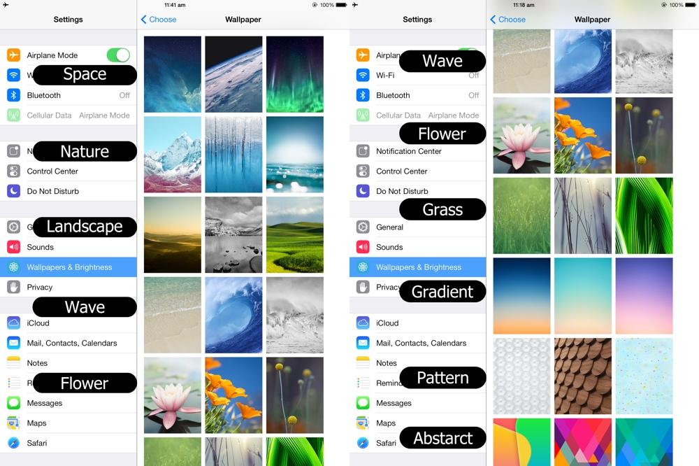 iOS default wallpaper categories