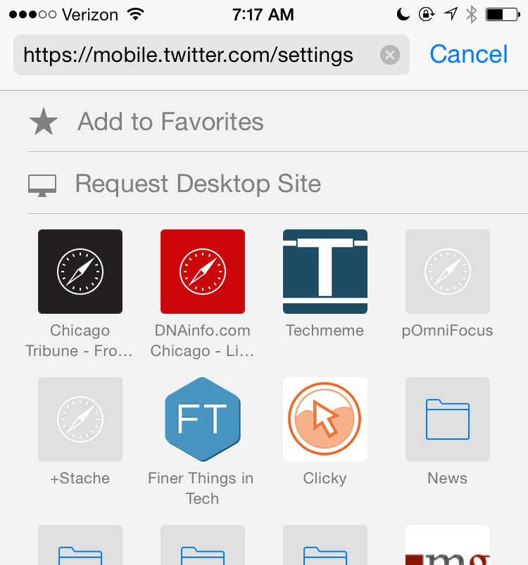 Safari iOS 8 Request Desktop Site