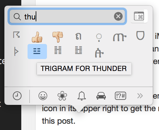 Emoji panel type to search Yosemite