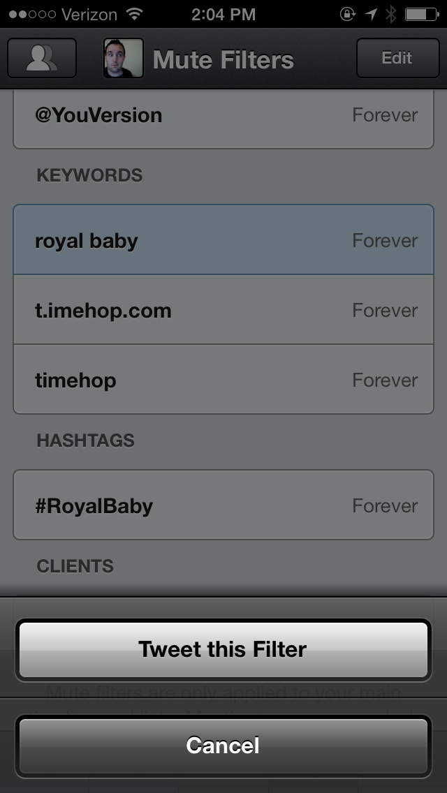 Tweetbot share mute filters