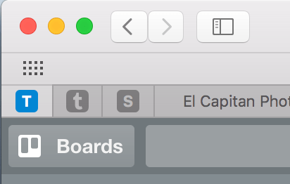From left to right, my pinned tabs are Trello, Tumblr, and Squarespace