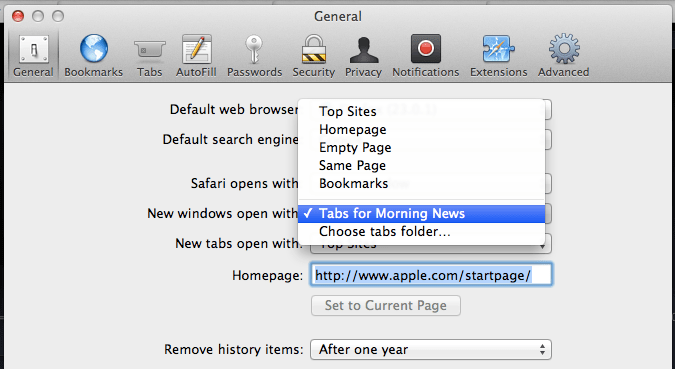 Safari new window bookmarks option