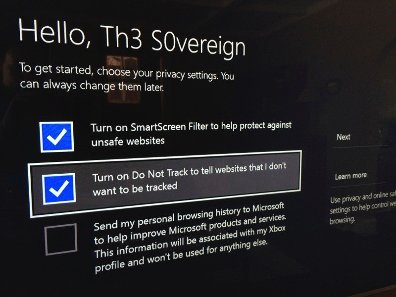 Xbox One IE setup Do Not Track by default