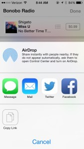 iTunes Radio share station iOS