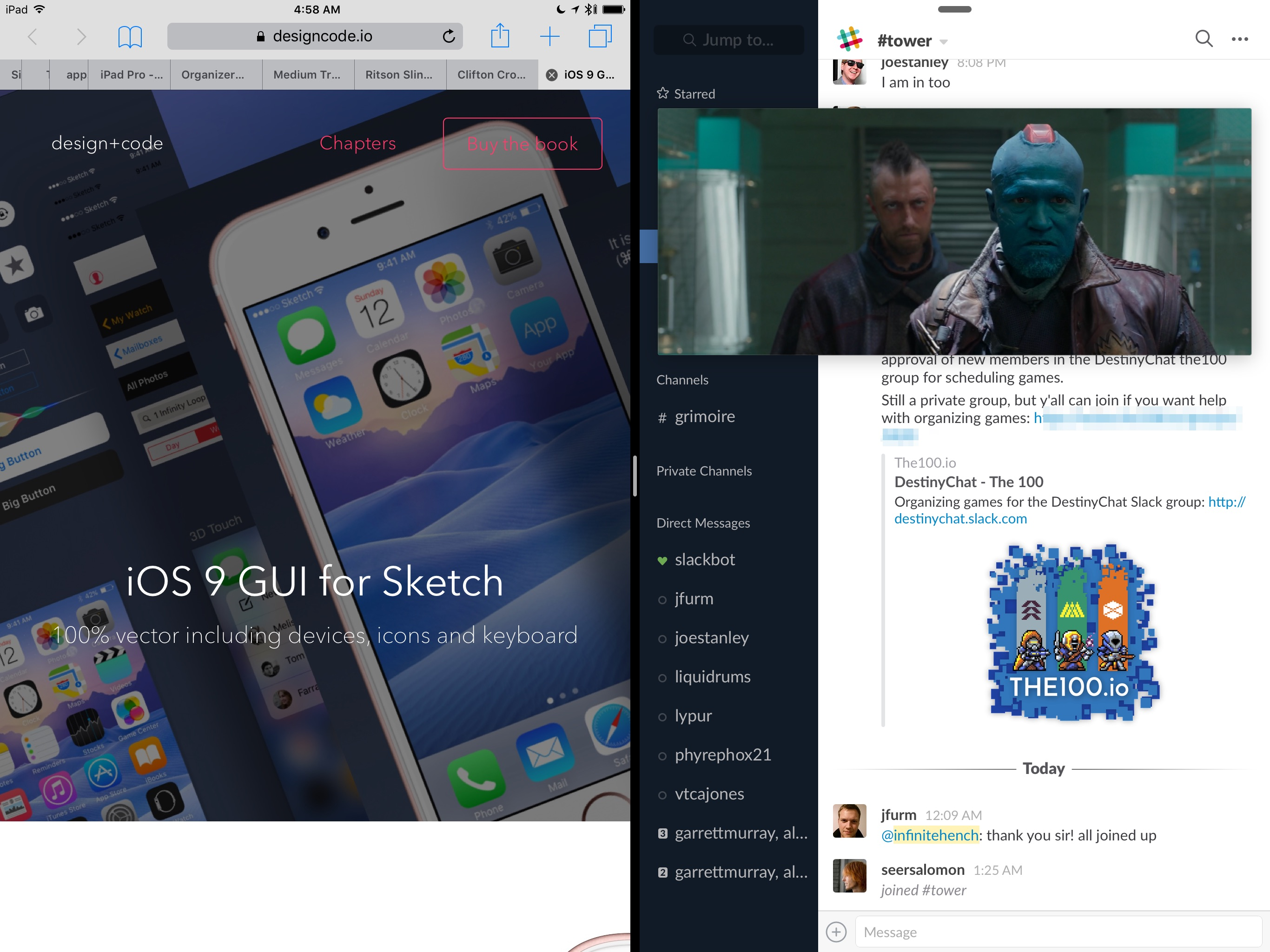 Two apps in Split View and a PiP video