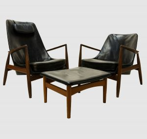 mid century chairs and ottoman