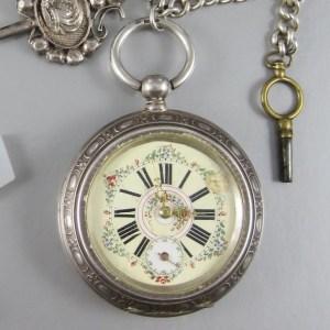 Austrian 800 Silver Pocket Watch  with Dutch Silver Watch Fob Chain