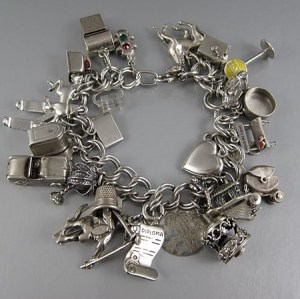 Vintage Charm Bracelet with 28 Charms