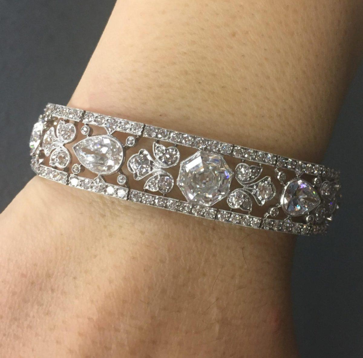 Edwardian Diamond Bracelet Price Realized: $137,500 Brokered through Bonhams, by Fine Estate, Inc.