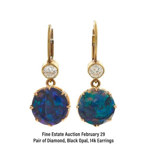 Pair of Diamond, Black Opal, 14k Earrings