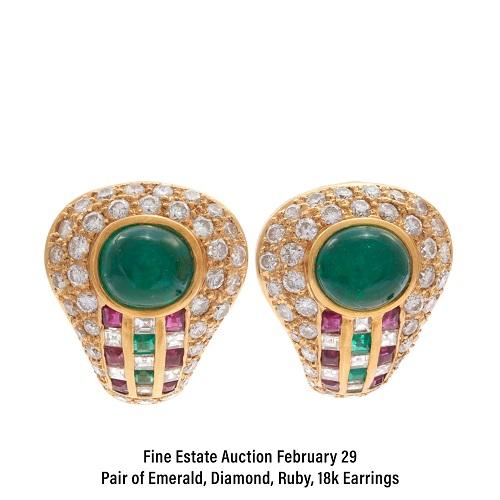Pair of Emerald, Diamond, Ruby, 18k Earrings