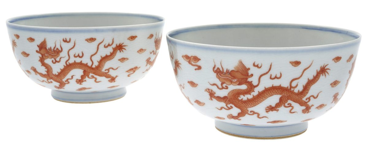 Pair of Iron-Red Painted Dragon Bowls, Kangxi Marks Period 1