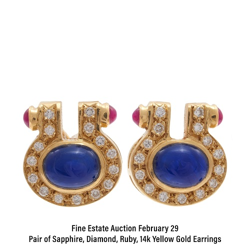 Pair of Sapphire, Diamond, Ruby, 14k Yellow Gold Earrings
