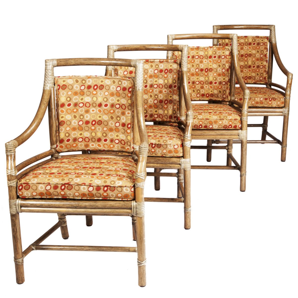 "<p><a href=""https://finesf.com/lot/set-of-four-mcguire-armchairs-4019124"">Set of Four McGuire Target Chairs  Designed by Elinor McGuire (M-59B/SL)</a></p>"