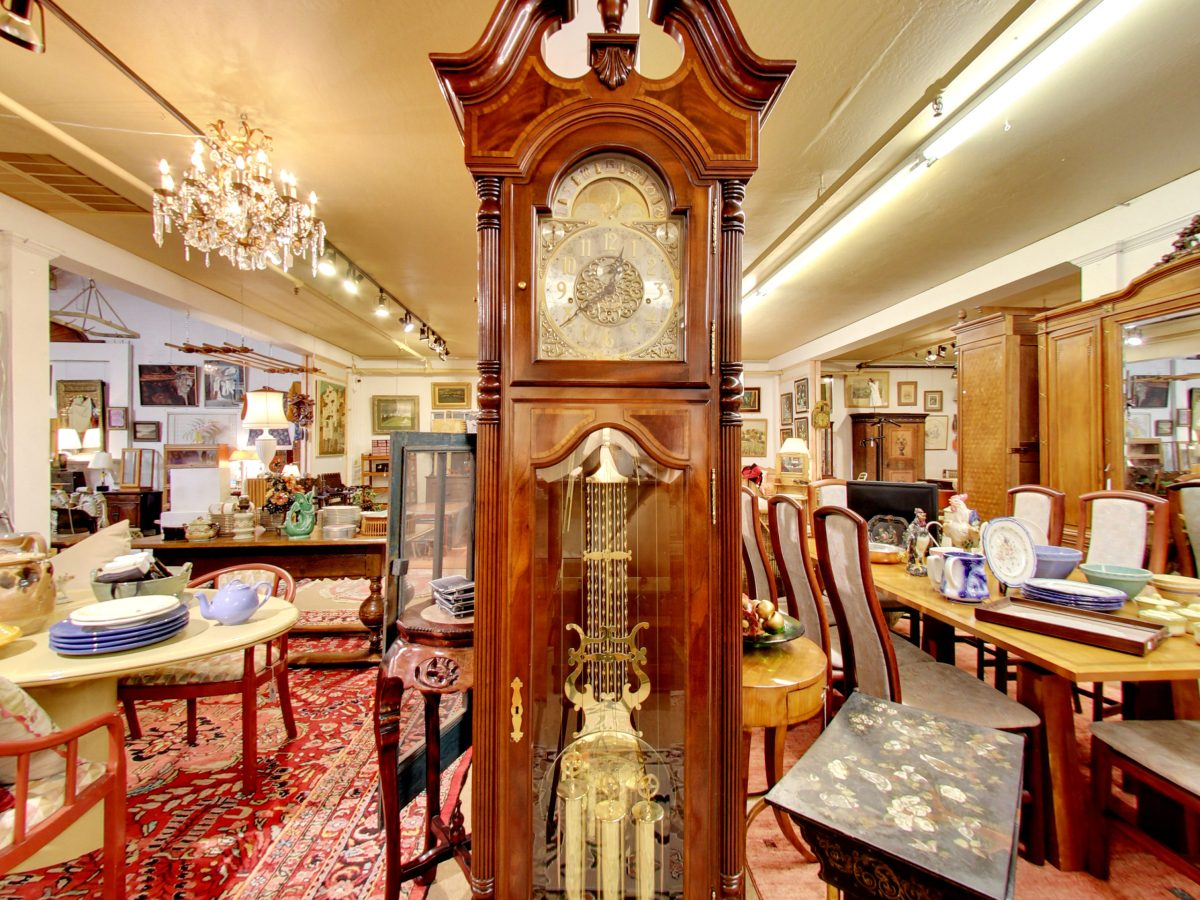 Grand Father Clock Interior of the Fine Estate, Inc. Estate Showroom