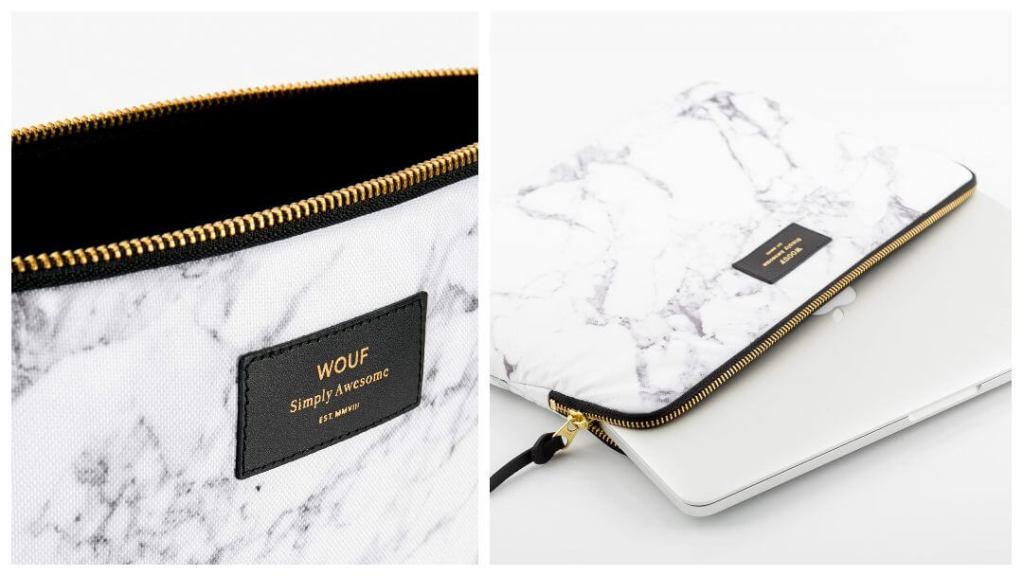 Laptop-deksel White Marble fra Wouf - Tips til eksamensgave