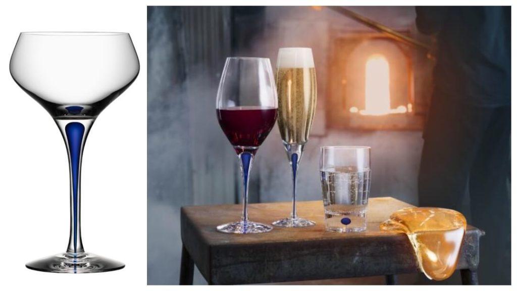 Presenter till pappa 2019: Intermezzo blå champagneglas från Orrefors