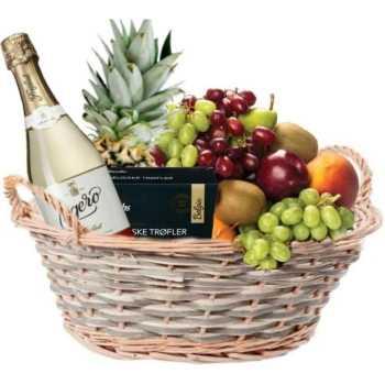 Tips til gavekurv: Frukt og musserende drikke i en og samme kurv