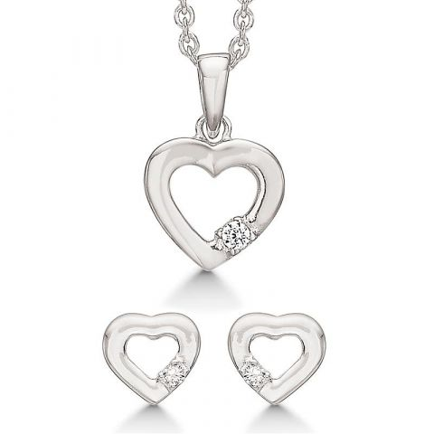 Smykkesett hjerter med Zirkona